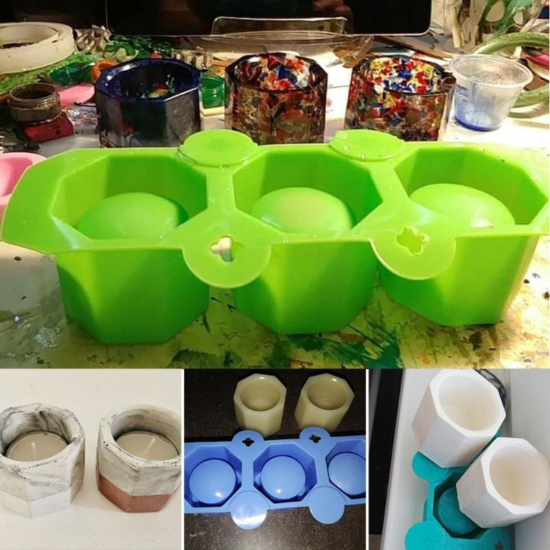 3 Hole Silicone Concrete Molds Cup Cactus Flower Pot Mold Ceramic Clay Craft Casting Concrete Cup Mould Supplies Accessories