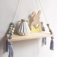 New Hanging Decorations Wall shelf Child Decorative shelf hanging with Rope and Wooden Board Ins Style Shape Princess Bedroom