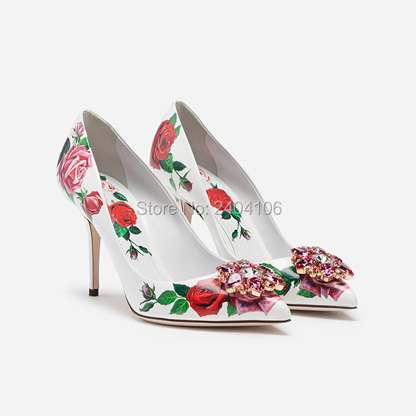 Zapatillas Mujer Party Wedding Shoes Sexy Pointed Toe Stiletto Pumps Rose Print Leather Black White Blue Pink Crystal High Heels