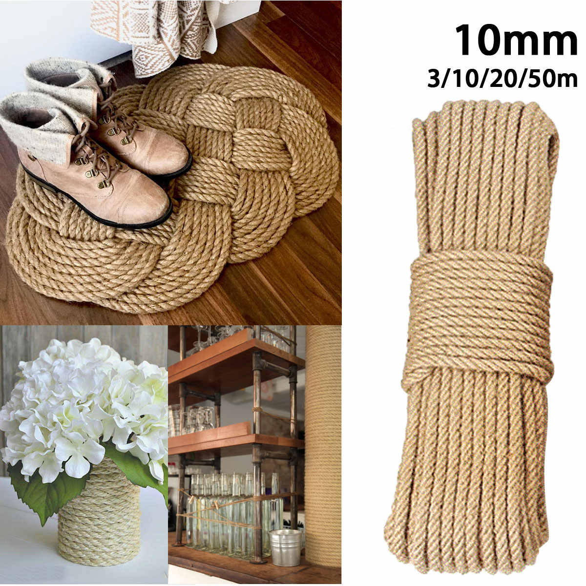KIWARM 10mm 3-50m Jute Ropes Twine Natural Hemp Cord DIY Nordic Home Decor Cat Pet Scratching