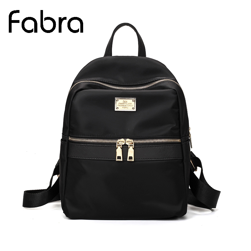 Fabra Small Waterproof Nylon Women Backpack Fashion Black Shoulder Back Bag Preppy Style Backpacks For Teenage Girls 24*13*30 Cm