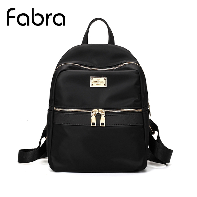 3ead412be Fabra صغيرة للماء النايلون النساء على ظهره الأزياء أسود الكتف حقيبة الظهر  Preppy نمط حقائب ظهر