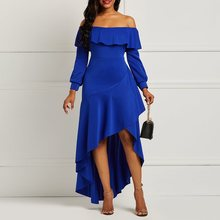 906c0944bcf1 Off Shoulder Red Sexy Long Tail Dresses Women Ruffles Asymmetric Backless  Party Evening Elegant Blue Backless. 2 Colors Available