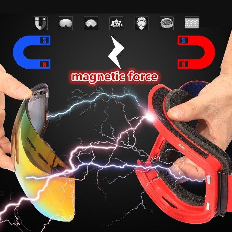Lunettes de Ski grand cadre sphérique lentille magnétique Anti-buée hommes femmes masque de neige sécurité sans marge lunettes adulte snowboard lunettes