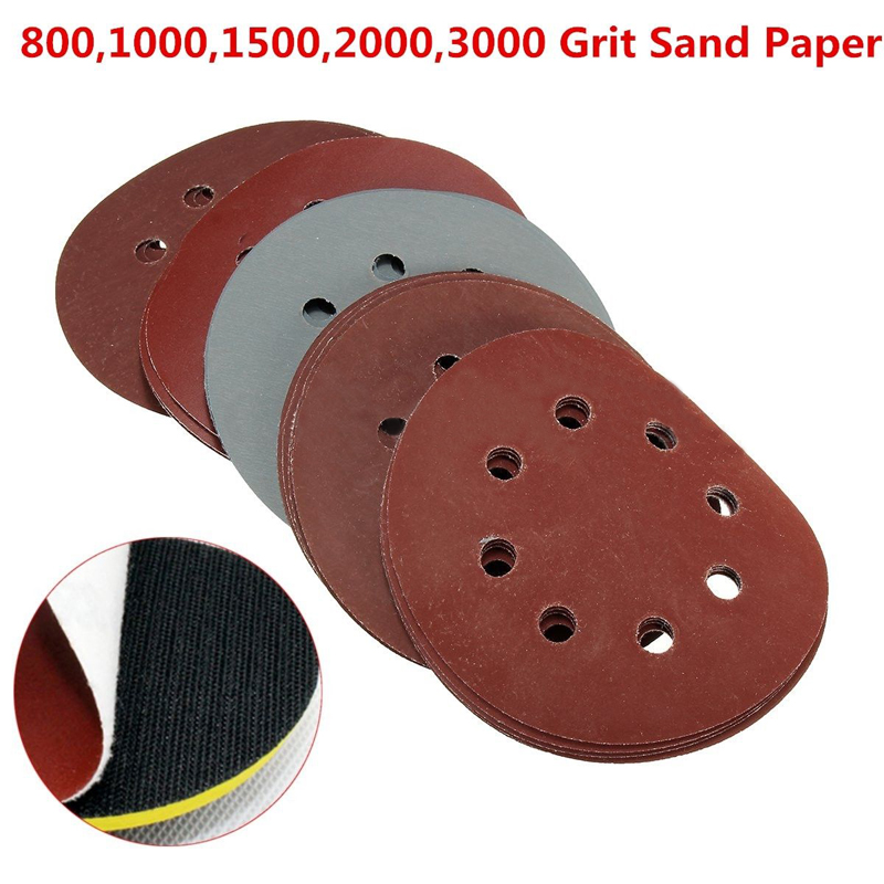 25x 5''  800 -3000 Grit Sand Paper Sanding Discs Sandpaper Hook Loop Round Sandpaper Eight Hole Disk Sand Sheets