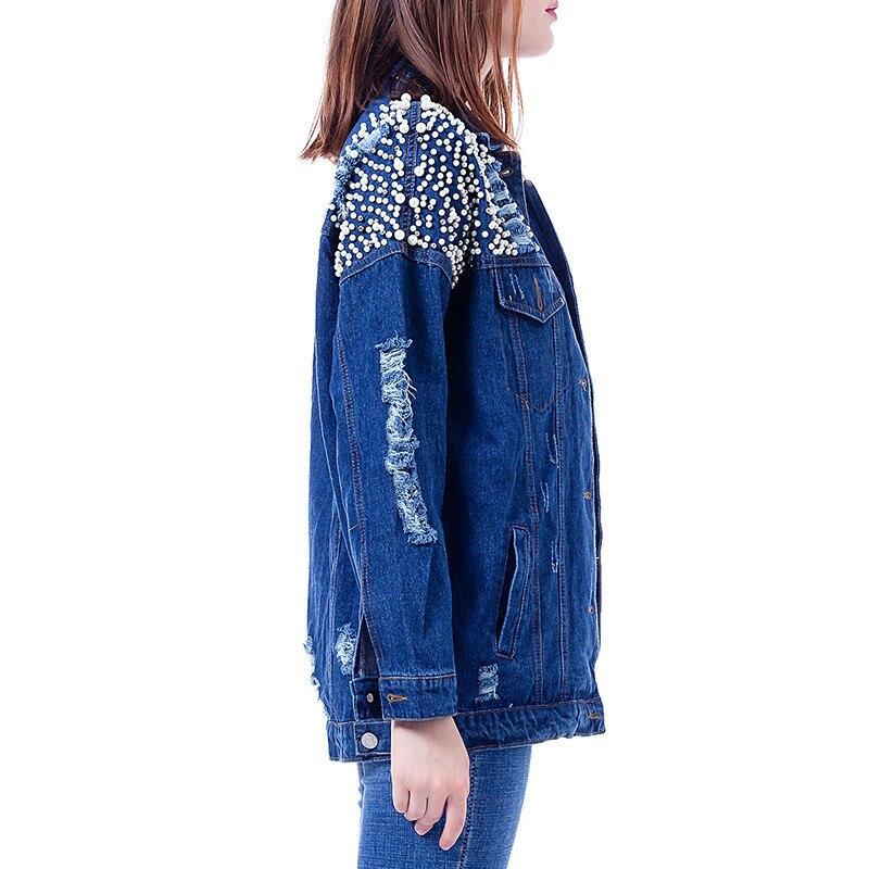 Manteaux Vêtements Blue Jeans Revers Denim Longues Base Automne Hiver Survêtement Lâche De gray Trous Twojstyle Tops Femmes Manches Vestes Mode qT7wPUnt