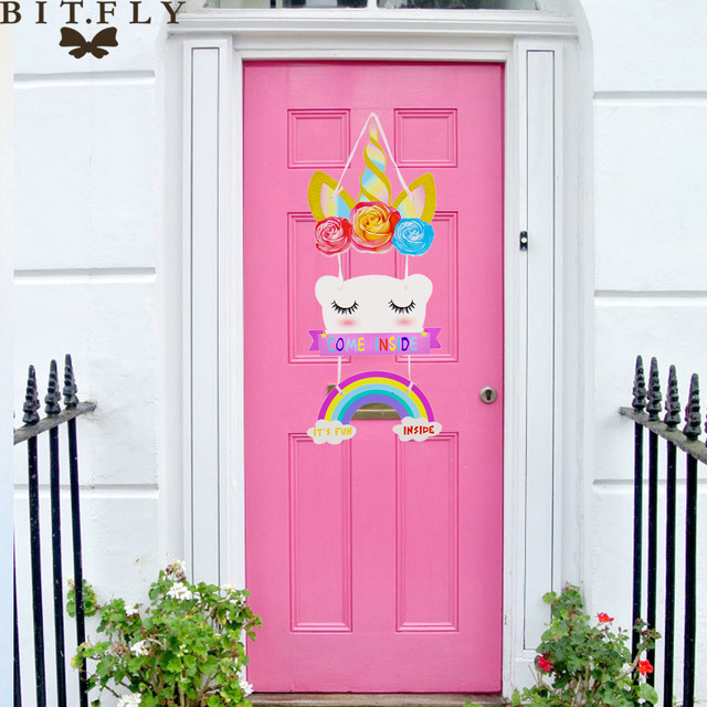 BITFLY Happy Birthday Unicorn Cake Topper Decorations Cute Wall Hanging Door Decoration For Kids Room Home Decor