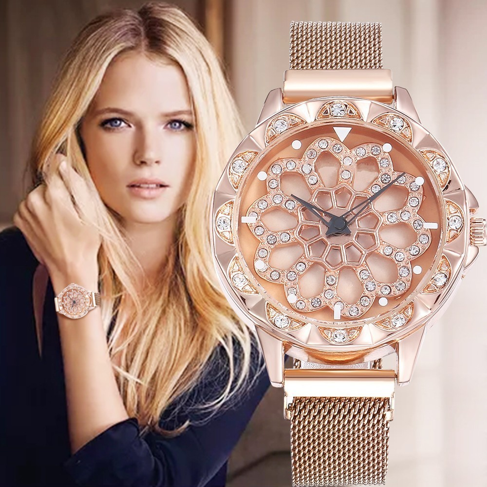 Hot Luxury 360 Degree Rotation Watch For Women Watches Starry Sky Magnet Fashion Casual Female Wristwatch Roman Numeral Relogio