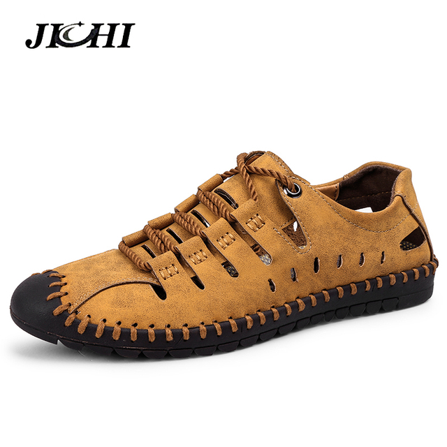 e0301e9729776 2019 New Spring Summer Outdoor Leather Casual Shoes Breathable Men's shoes  Handmade Flats Moccasins Loafers Big