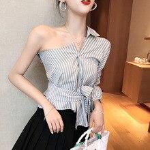 цена на #5327 Summer 2019 Skew Shoulder Blouse Women Sexy Short Tops Ladies Chic Lace up Waist Korean Style Wrap Top Asymmetrical Blouse