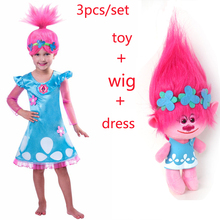 New Christmas Carnival Costume Trolls Wig toy For Kids Poppy Lace Dress