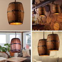 Wood Wine Barrel Hanging Fixture Ceiling Pendants Lamp Light Suitable For Bar Cafe Light Ceiling room Restaurant Barrel Lamp