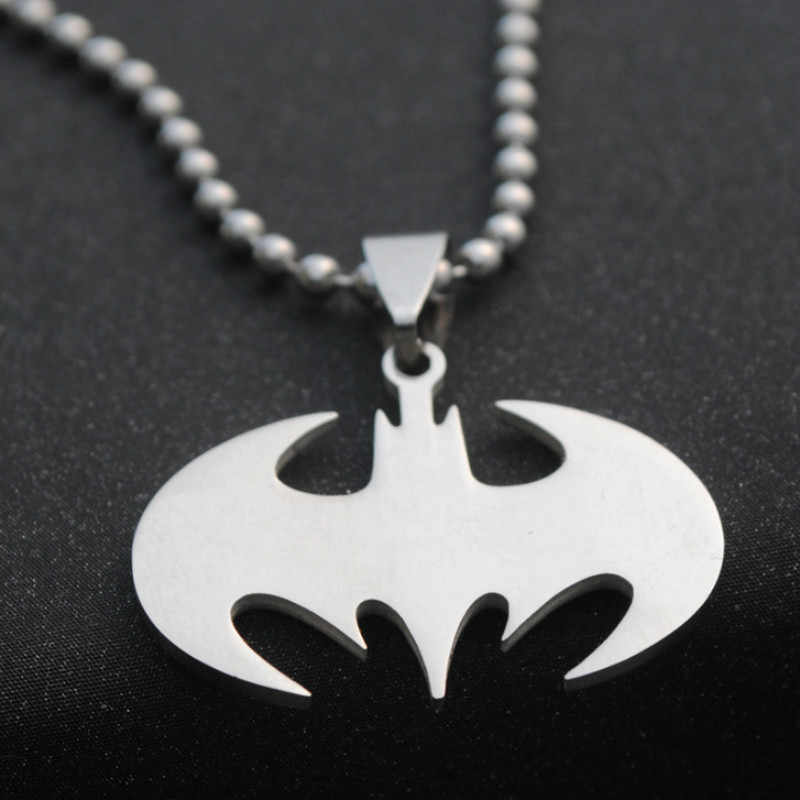 2019 New Stainless Steel Batman Pendant Necklace Leather Rope Ball Chain Men's Necklace Chain Personality Wild Jewelry