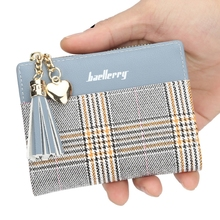 Card Package Tassel Zipper Short Wallet Stripe Three Fold Cross Section Wallet Leather Tide Purse three fold wallet long section of new leather embossed clutch bag purse ms bb055