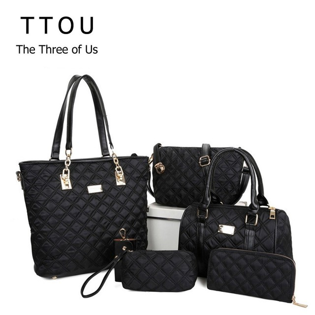 296e5397b5df TTOU Women Fashion Diamond Lattice Handbag Set 6pcs Patchwork Composite Bag  Female Vintage Shoulder Bag Casual