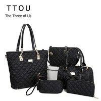 TTOU Women Fashion Diamond Lattice Handbag Set 6pcs Patchwork Composite Bag Female Vintage Shoulder Bag Casual Tote Oxford Bag