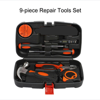 Hand Tool Sets Manual Hardware Tools 9 piece Set Woodworking Electric Toolbox Home Suit Combination Repair Tool Set Tool Box
