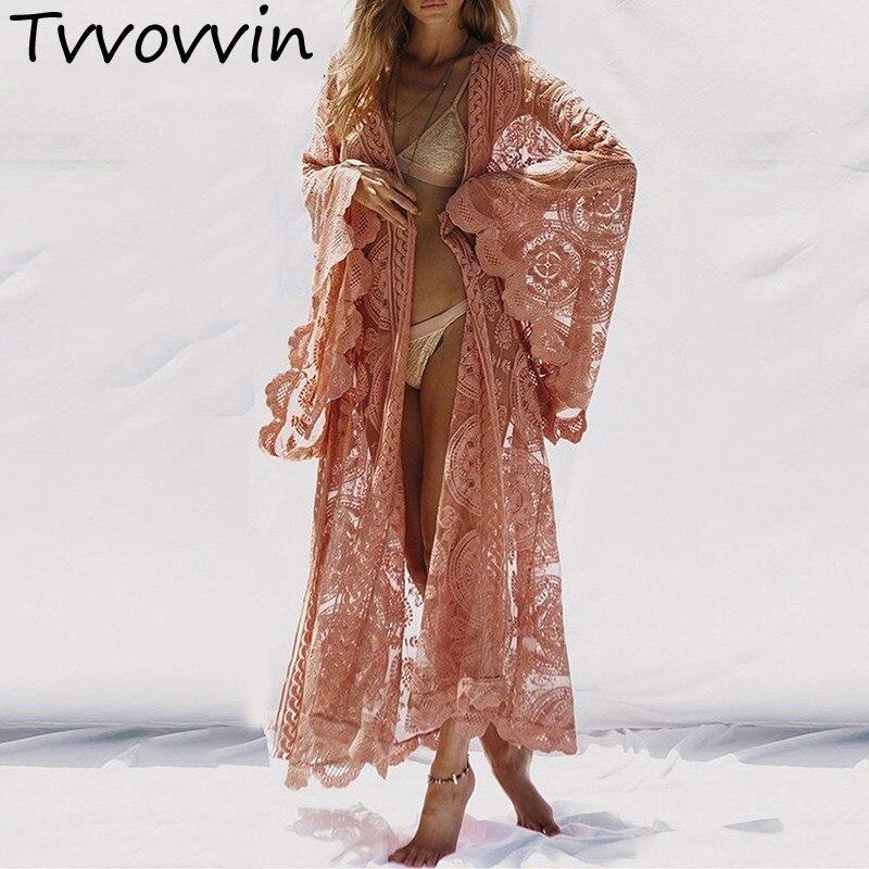 TVVOVVIN femmes chemise hauts à lacets Flare manches Maxi Blouse femme 2019 été vacances Style vêtements grande taille Q653