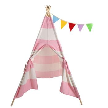 Portable Kids Playhouse Sleeping Dome Teepee Tent Pink Strip Easy Storage And Portability