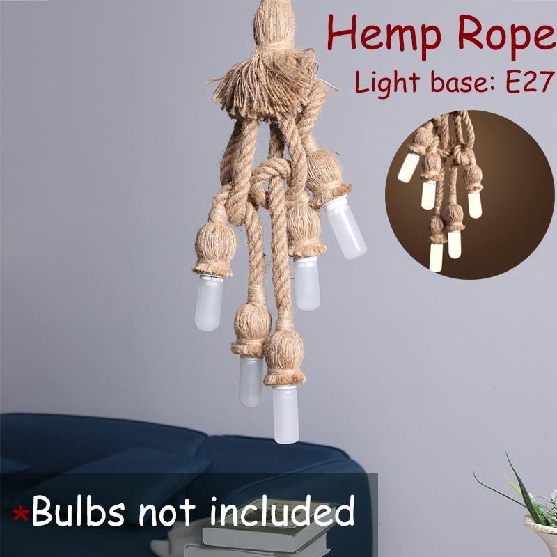 5 Head Vintage Hanging Lamp Holder Hemp Rope Lamp Base Bulbe Holder for Light Retro Lamp Ceiling Pendant E27 Base in Lamp Bases from Lights Lighting