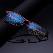9363a313bfc7e Anti Luz Azul Homens Óculos De Leitura Hipermetropia Óculos Multifocal  Progressiva Da Liga Do Vintage Moda