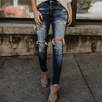 Spring Boyfriend Style Hole Ripped High Waist Slim Jeans Pencil Pants Women Cool Denim Vintage Skinny Push Up Pants sexy hole boyfriend jeans women high waist elastic ripped mom jeans streetwear slim denim pencil pants ladies skinny trouser