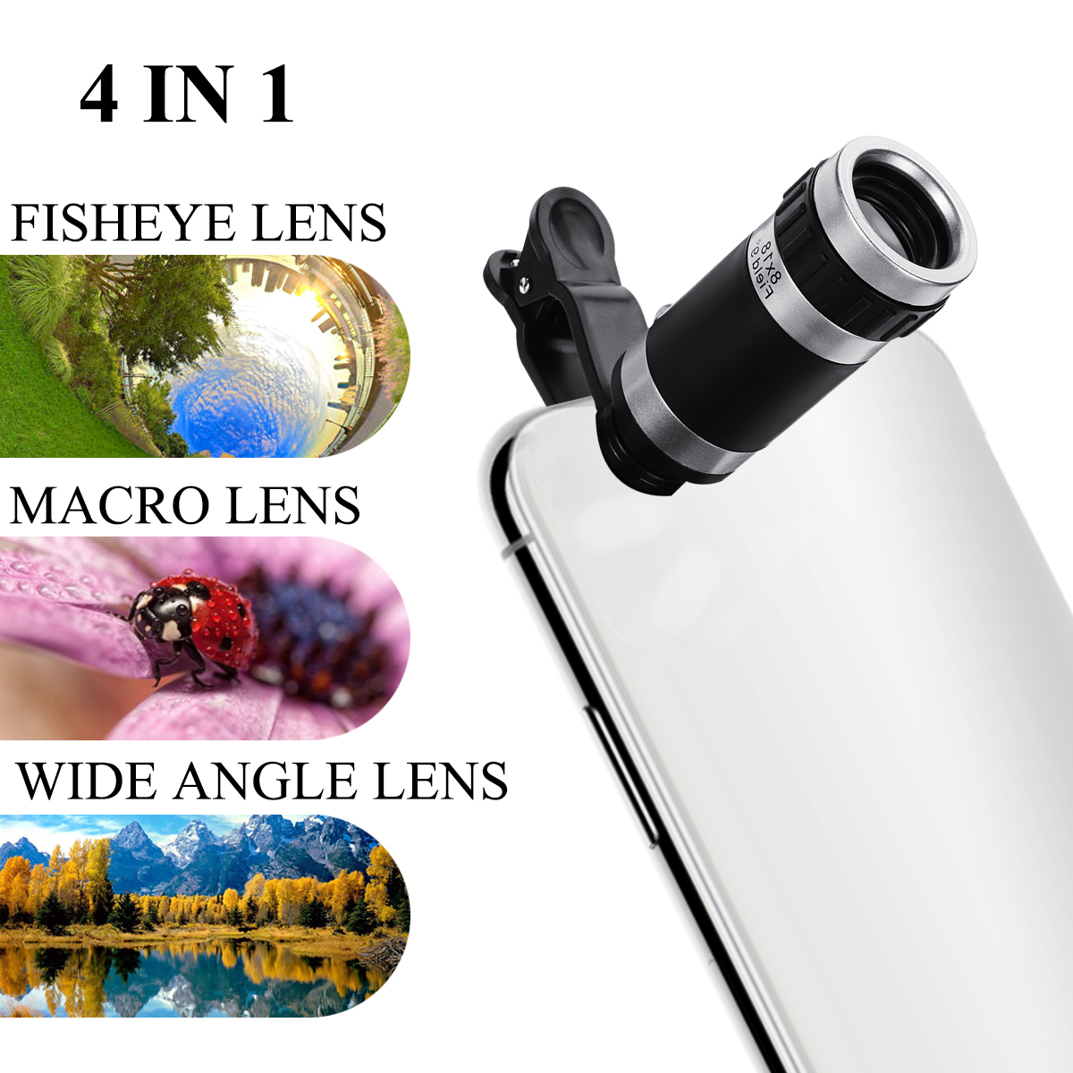 8X 4in1 Telescope Zoom Mobile Phone Lens for iPhone for Samsung Smartphones univ