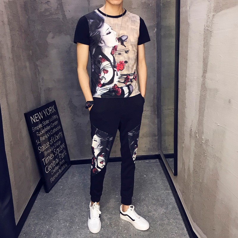 2019 Spring Summer Size M-5XL Men Sets Tracksuit Men T-shirts Chandal Hombre 2 Pieces Sets O-neck Short Sleeve Hip Hop Cool