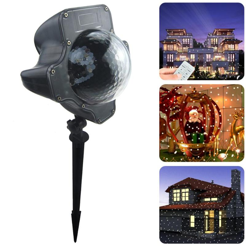 Holiday Moving Snow Laser Projector Lamps Snowflake LED Stage Light