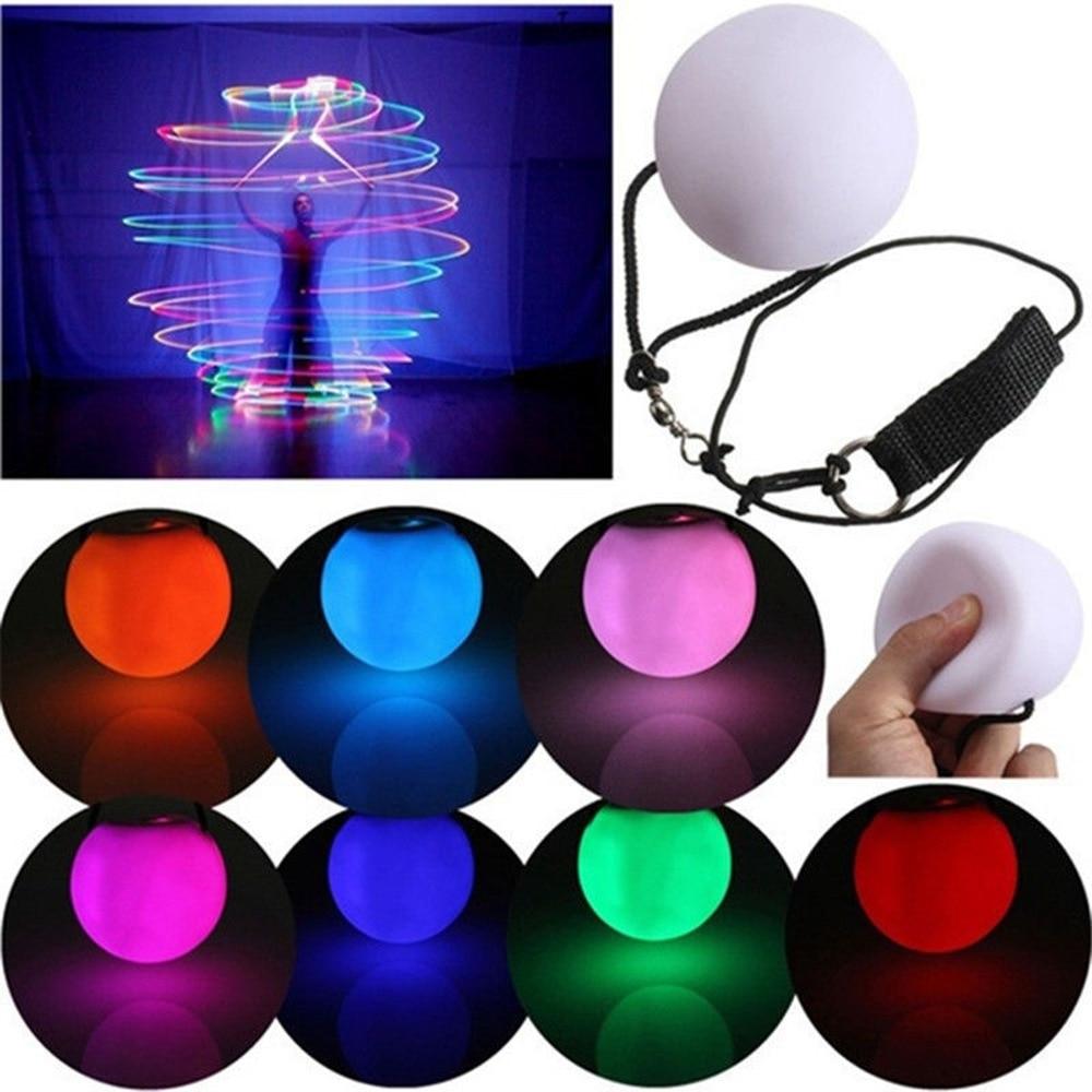 Nouveau LED enfants multicolores lueur POI jeté jouets balle éclairer pour la danse du ventre main Prop enfants scène Performance accessoires