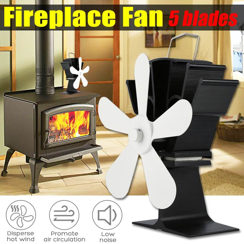 Fireplace Fan5 Blade Heat Powered Stove Fan Log Wood Burner Eco Friendly Quiet Home Efficient Heat Distribution Fuel Saving