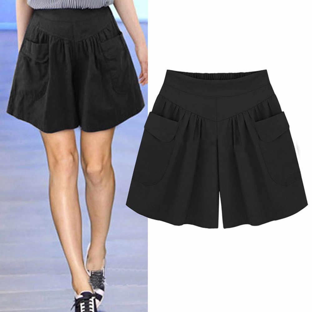 Feitong calças curtas femininas, calças curtas de tamanho grande e soltas, novo design de bolsos grandes, shorts casuais para mulheres calças 2019,