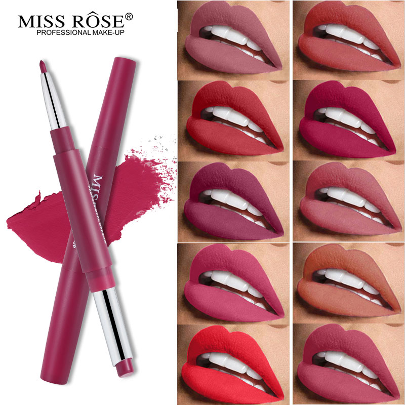 <font><b>Miss</b></font> <font><b>Rose</b></font> Dual-ended <font><b>Lipstick</b></font> + Lipliner <font><b>Set</b></font> Silky <font><b>Matte</b></font> Lip Stick Waterproof Nude Lip Liner Soft Long-wearing Rouge Lips Batom image