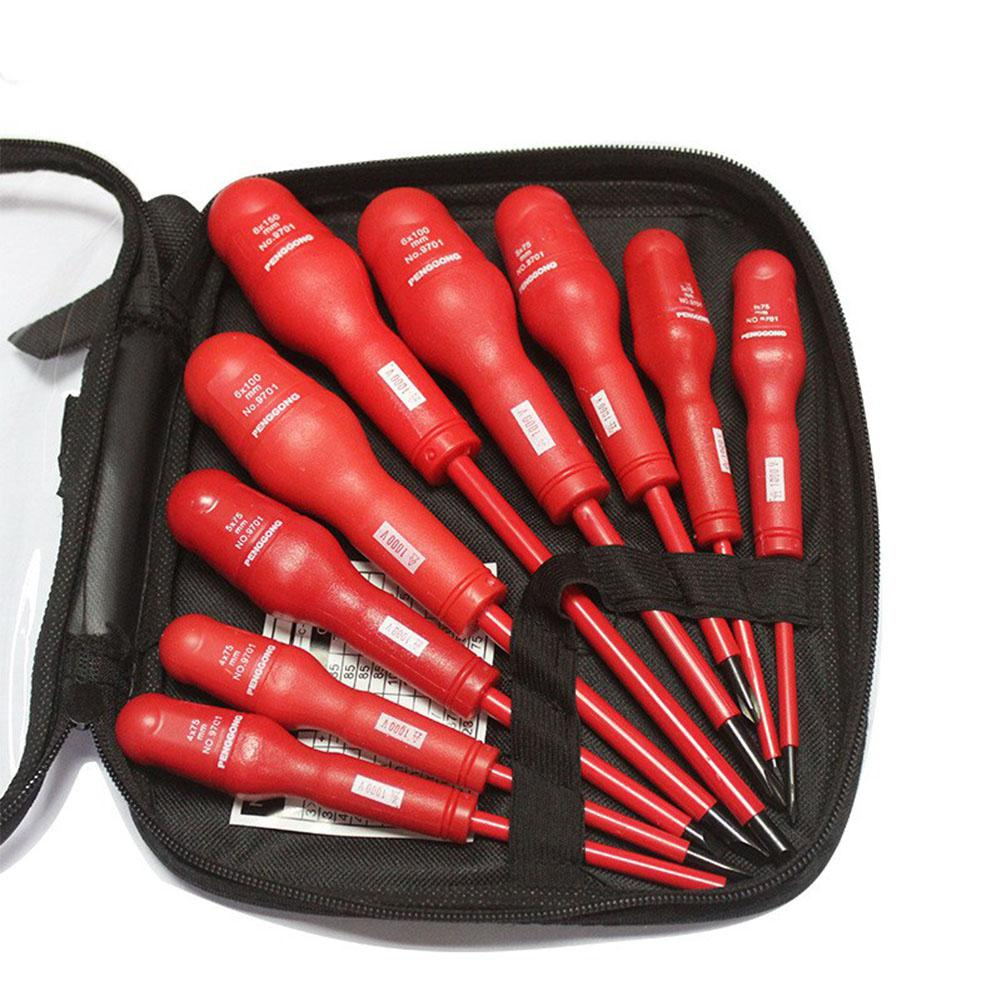 SOLLED 9 Pcs/set High Voltage 1000V Slotted Phillips Insulated Magnetic Screwdriver Set Electrician Dedicated Hand Tools
