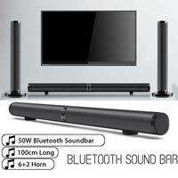 EU AU US 50W Detachable Bluetooth Soundbar Wireless Stereo Subwoofer Speaker TV Home Theater TF USB Virtual Surround Sound Bar