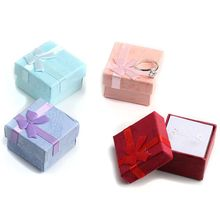 4 шт. 4x4 см Высокое качество ювелирные изделия Органайзер Ящик для хранения колец маленькая Подарочная коробка для колец серьги 4 цвета