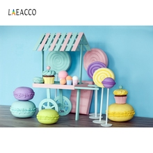 Laeacco Ice Cream Car Cake Candy Macarons Backdrop Photography Backgrounds Customized Photographic For Photo Studio