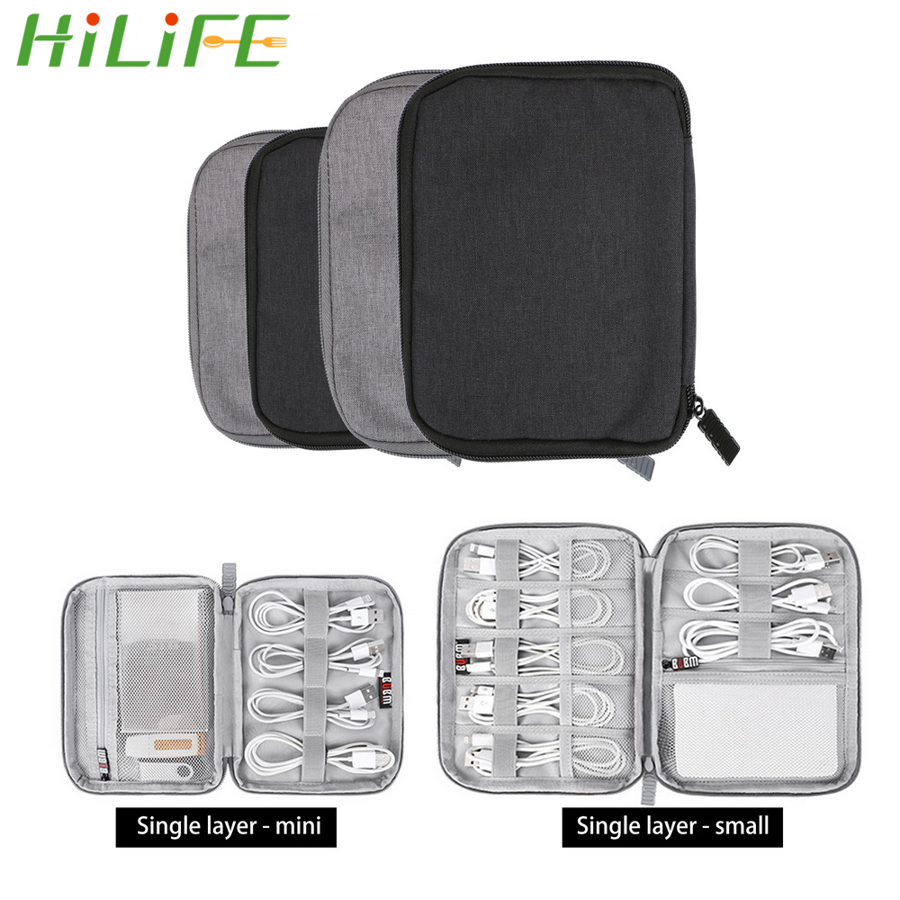 HILIFE For USB Data Cable Earphone Wire pen Power bank Travel Kit Case Pouch Electronics Accessories Organizer Storage Bag