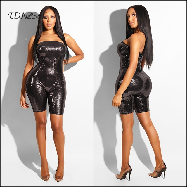 a0799f5a6d0 Women Sexy Strapless Tube Top Skinny Playsuit Sleeveless Sequined Glitter  Knee Length Jumpsuit Nightclub Wear Slim
