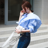 SHENGPALAE 2109 New Summer Solid Color Women Blouses Puff Sleeve Tops Stand Collar Stitching Ruffles Female Shirts Tide FM117