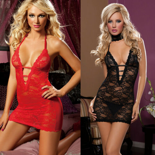 3pcsNEW Women's Sexy Lingerie Babydoll Sleepwear Underwear Lace BLACK Dress Set
