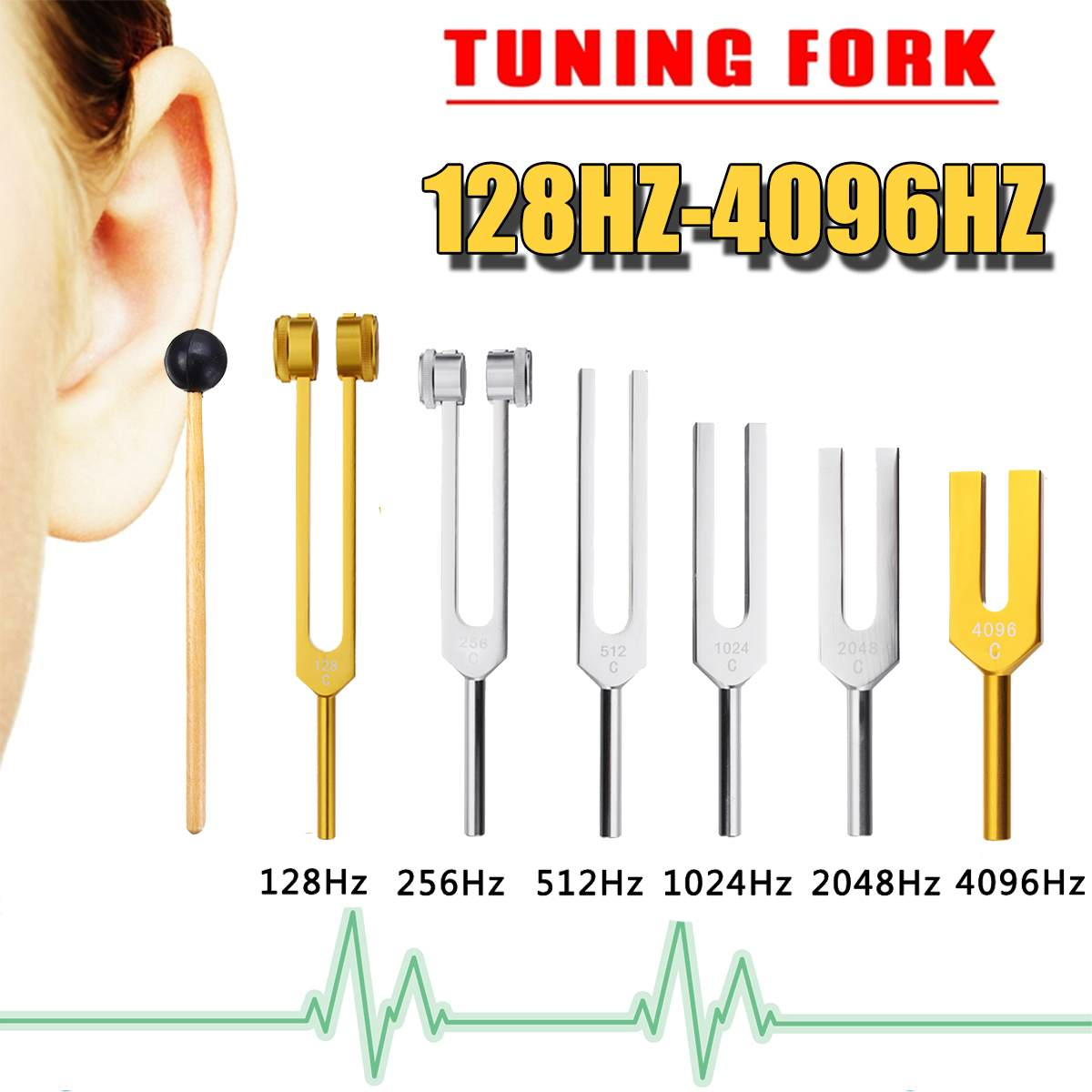 6Pcs 128/256/512/1024/4096HZ Medical Tuning Fork Chakra Healing Sound Therapy Tuner+Hammer Ball+Mallet+Bag Musical Instrument6Pcs 128/256/512/1024/4096HZ Medical Tuning Fork Chakra Healing Sound Therapy Tuner+Hammer Ball+Mallet+Bag Musical Instrument