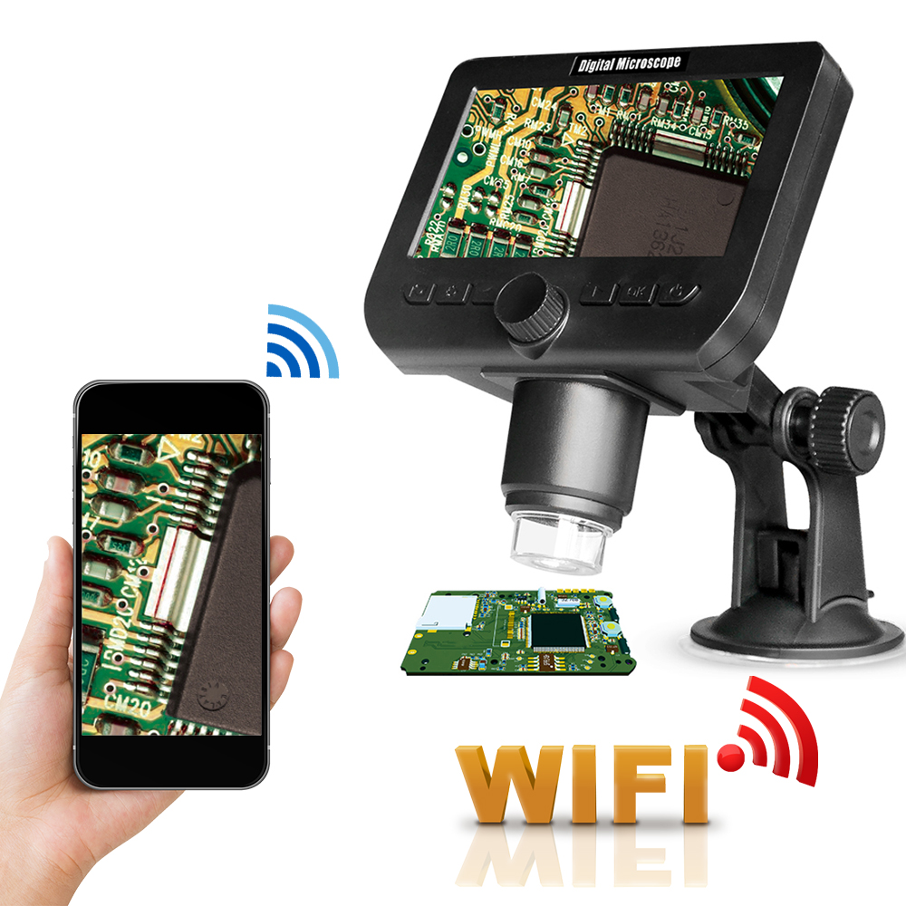 WIFI Digital Microscope For Electronics Phone Computer Microscopes Led Wireless 4 3 Inch Screen Microscope 8