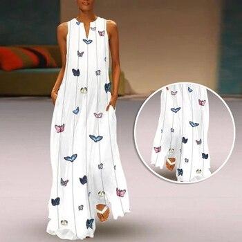 ac98e2144dde6f1 Пляжное женское платье без рукавов с v-образным вырезом, сарафан с  бабочкой, простое длинное платье макси, плюс