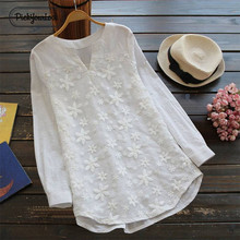 PickyourLook Women Blouses Plus Size Lace Floral Loose Tops White Long Sleeve 100% Cotton Shirt Casual V Neck Female Blouse 5XL