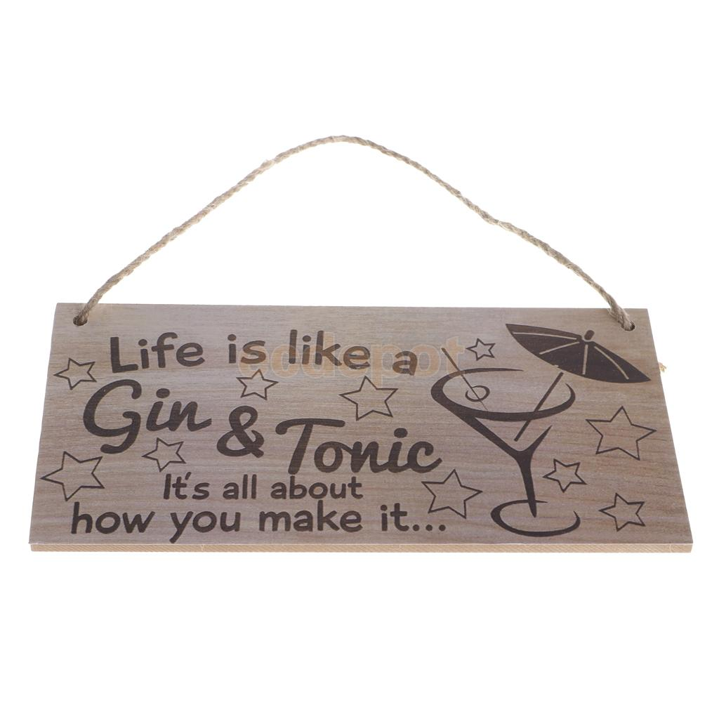MagiDeal Life est comme un signe en bois Gin & tonique maison Bar Cocktail fête décoration murale accessoire en bois Plaque suspendue signe