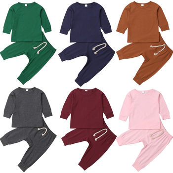 Casual Newborn Baby Boy Girl Solid Color Long Sleeve Cotton T-shirt Tops Long Pant 2PCS Homewear Baby Clothing Set 1