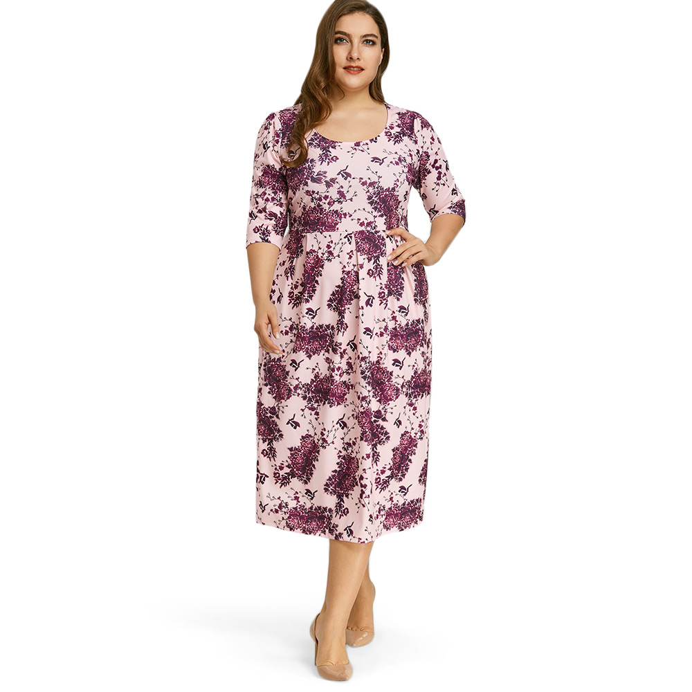 US $16.17 33% OFF|2019 Spring Women A Line Midi Dress Plus Size Floral  Print 3/4 Length Sleeve Autumn Dress Women Work A Line Casual Female  Dress-in ...