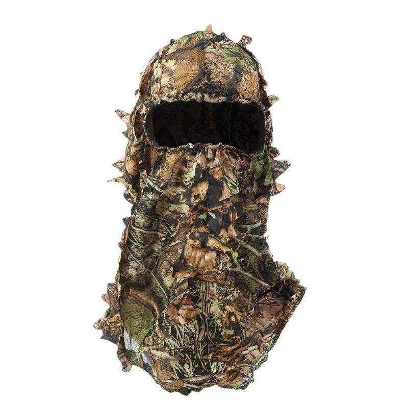 3D Leaves Polyester Multi-functional Outdoor Hunting Mask Helmet Tactical Full Face Mask Hunting Caps