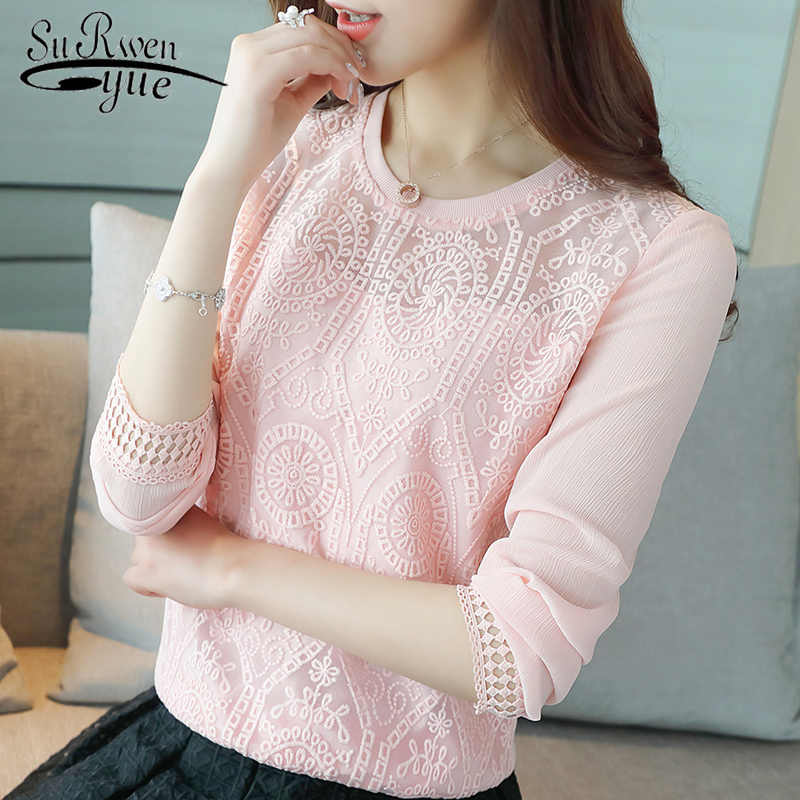 2018 Fashion chiffon women's clothing Long Sleeve pink women Blouse shirt Hollow out Sexy Chiffon women's Tops Blusas 203C 30